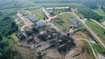 Sakarya'daki patlamanın yarattığı yıkım görüntülendi