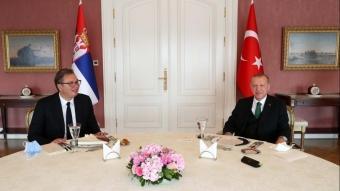 Cumhurbaşkanı Erdoğan ve Sırbistan Cumhurbaşkanı Aleksandar Vucic bir araya geldi