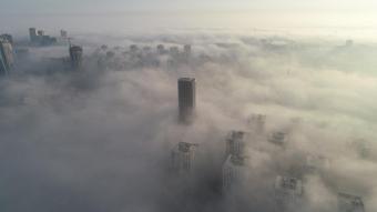 İstanbul'daki sis havadan görüntülendi