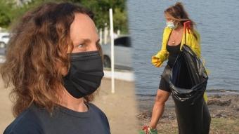 Sertab Erener ve Yonca Evcimik Bodrum'da çöp topladı