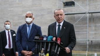 Başkan Erdoğan, yapımı süren Taksim Camisi'nde incelemede bulundu