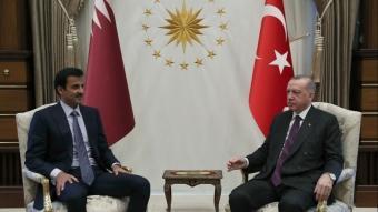 Başkan Erdoğan, Katar Emiri Şeyh Temim bin Hamed Al Sani ile bir araya geldi