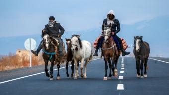 Besiciler, soğuk havaya rağmen sürülerinin yanına varmak için 50 kilometre yol kat ettiler