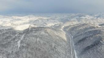 Batı Karadeniz'deki kar yağışı drone ile görüntülendi