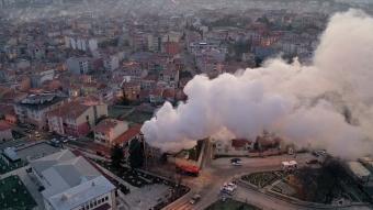 Edirne Müftülüğünde meydana gelen yangında ahşap bina kullanılamaz hale geldi