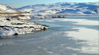 Muş'ta göletlerin yüzeyi buz tuttu