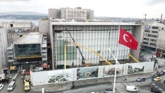 Taksim'deki Atatürk Kültür Merkezi'nde son durum havadan görüntülendi