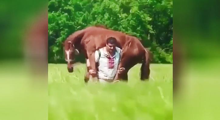 Atı sırtında taşıyan adam rekor kırdı