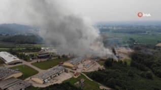 Havai fişek fabrikasındaki yangın havadan görüntülendi