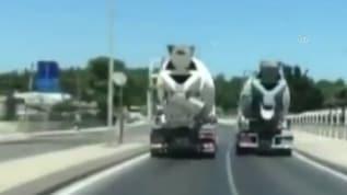 Yarış yapan beton mikseri sürücülerine ceza!