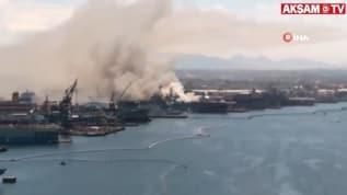 ABD'nin USS Bonhomme Richard isimli savaş gemisinde yangın!
