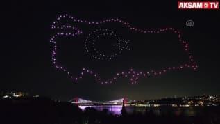 200 drone ile 15 Temmuz'a özel ışıklı gösteri