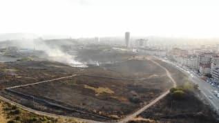 Maltepe'de askeri alanda çıkan yangının verdiği zarar havadan görüntülendi