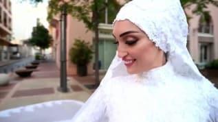 Beyrut'taki patlamaya düğün fotoğrafı çektirirken yakalandılar