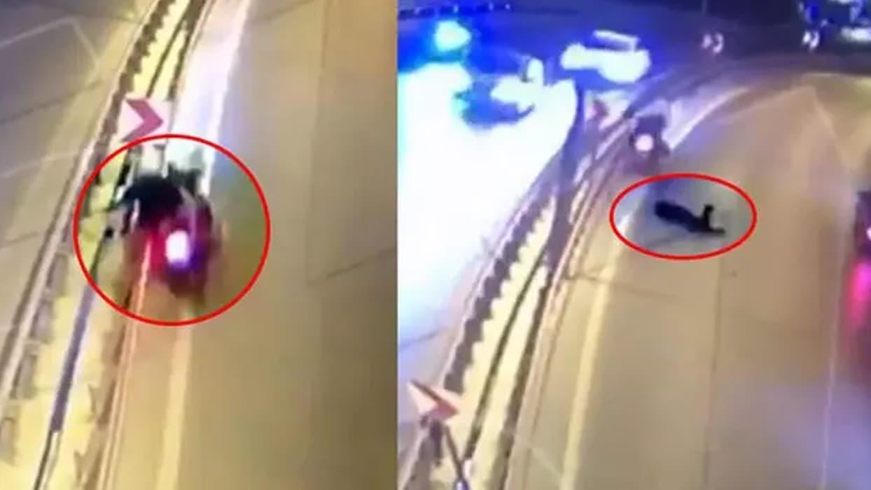 <p>Antalya'da Mevlana Kavşağı üst geçidinde yaşanan olayda, virajı alamayarak kontrolden çıkan yunus