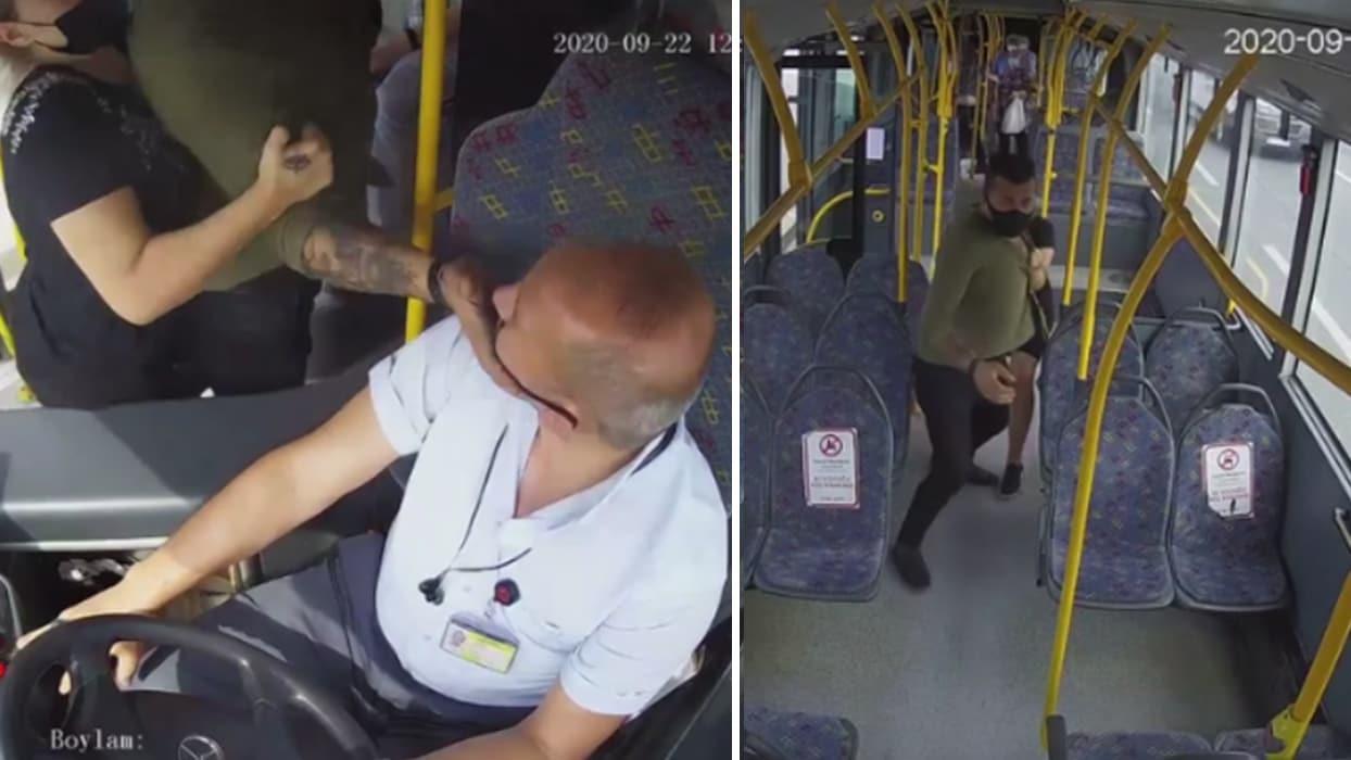 <p>Bursa'nın Osmangazi ilçesinde otobüs şoförüyle, maskesiz binmek isteyen yolcu arasında tartışma ç