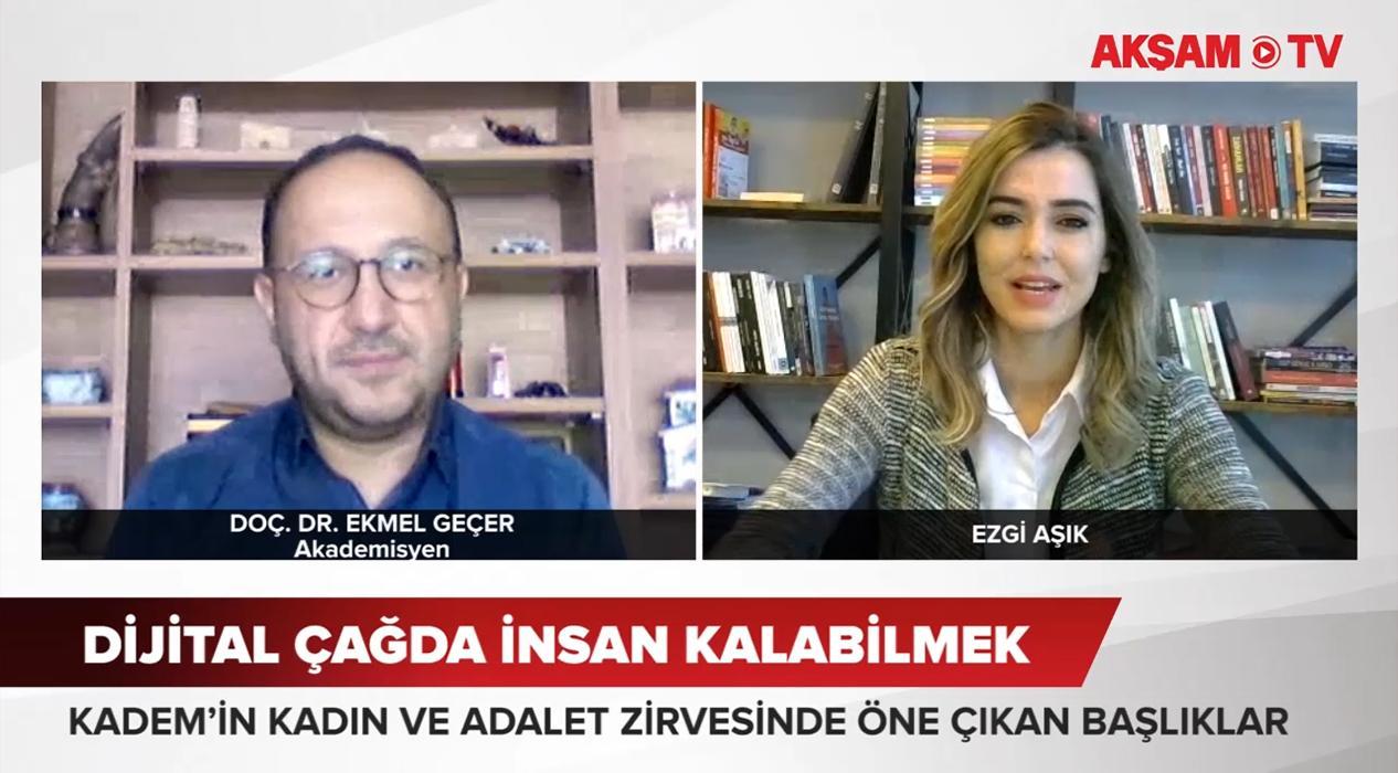 <p>AKŞAM TV'den Ezgi Aşık'ın sorularını yanıtlayan Doç. Dr  Ekmel Geçer, insanı insan yapan manevi u