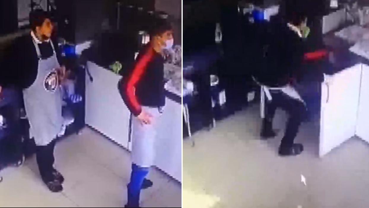 <p>Mersin'de sokak ortasında başlayan ve bir pastanede devam eden kavgadan korkan 2 çalışan korunmak