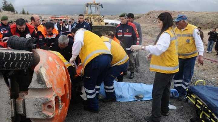 Nevşehir'de forklift devrildi