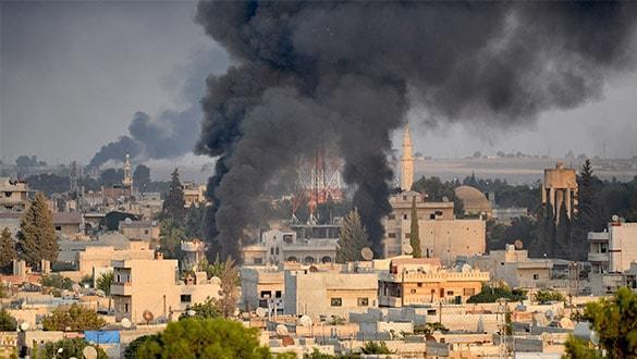 Suriye'nin kuzeyindeki Rasulayn'da teröristlerin yaktığı ateşler görüntülendi