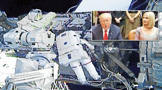 Kadınlar uzayda yürüdü, Trump canlı bağlandı