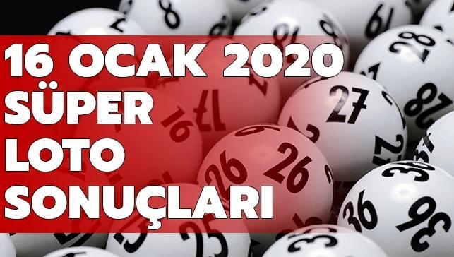 Süper Loto sonuçları 16 Ocak 2020