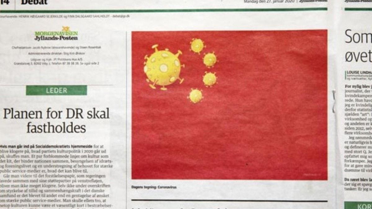 Danimarka gazetesi Çin bayrağını corona virüsü sembolüyle resmetti
