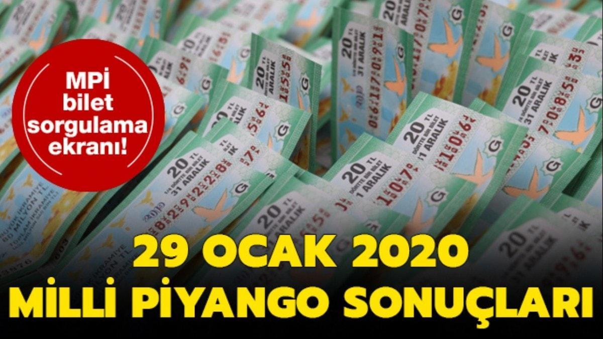 Milli Piyango sonuçları 29 Ocak 2020