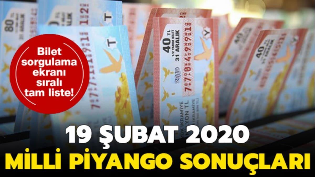 19 Şubat Milli Piyango çekiliş sonuçları açıklandı! Milli Piyango sonuçları sıralı tam liste sorgulama