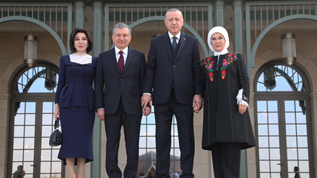 Başkan Erdoğan, Özbekistan Cumhurbaşkanı Mirziyoyev ile görüştü