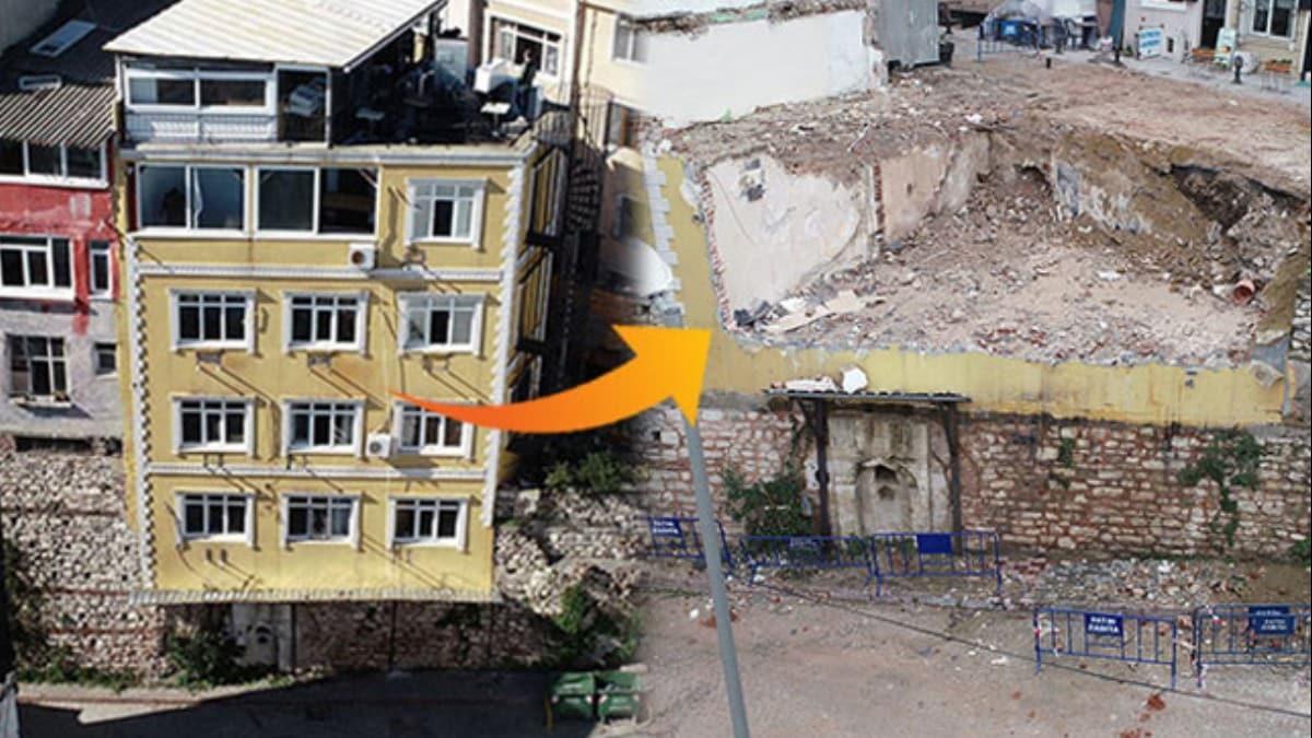 Tarih üzerine inşa edilen otel ve pansiyonun yıkımı tamamlandı