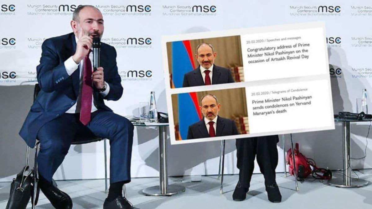 Ermenistan Başbakanı Paşinyan'ın iki farklı pozu alay konusu oldu