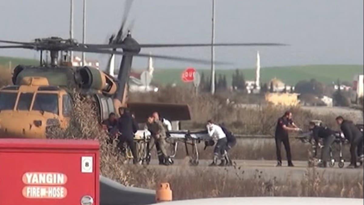 Hain saldırıda yaralanan askerlerimiz helikopterle getirildi! O anlar kamerada...