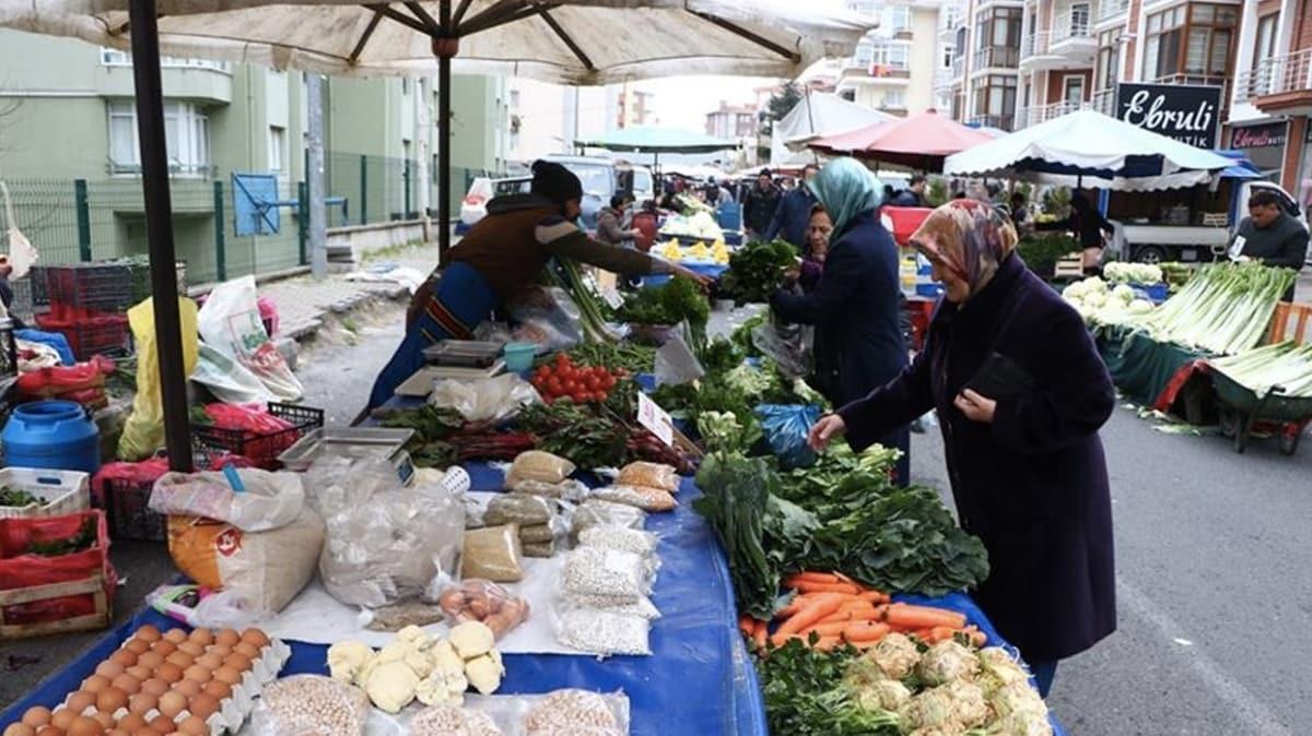 Tekirdağ'da pazarlarda koronavirüs önlemleri olarak sadece gıda ve temizlik ürünleri satılıyor