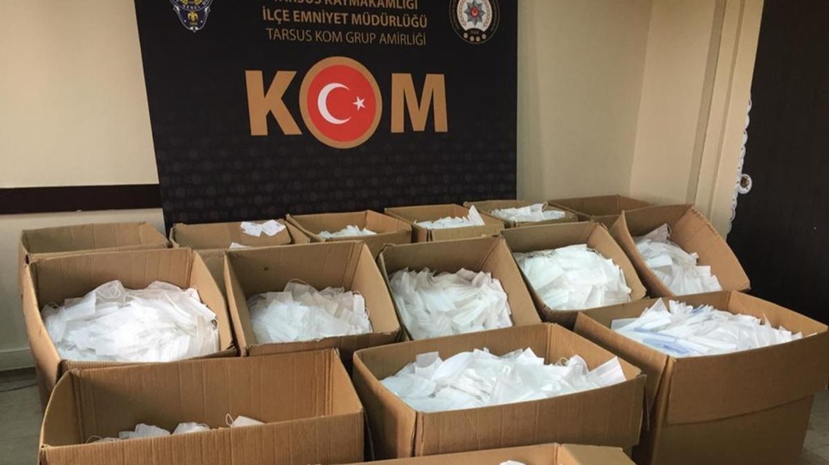 Mersin'de kaçak üretilen 70 bin maskeye el konuldu