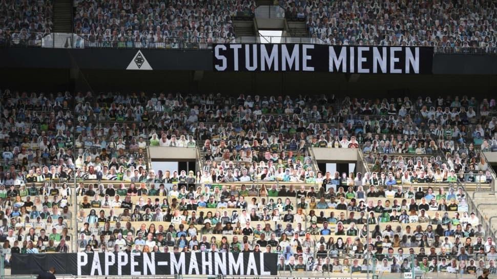 Mönchengladbach-Bayer Leverkusen maçında seyirci yok, fotoğrafları var