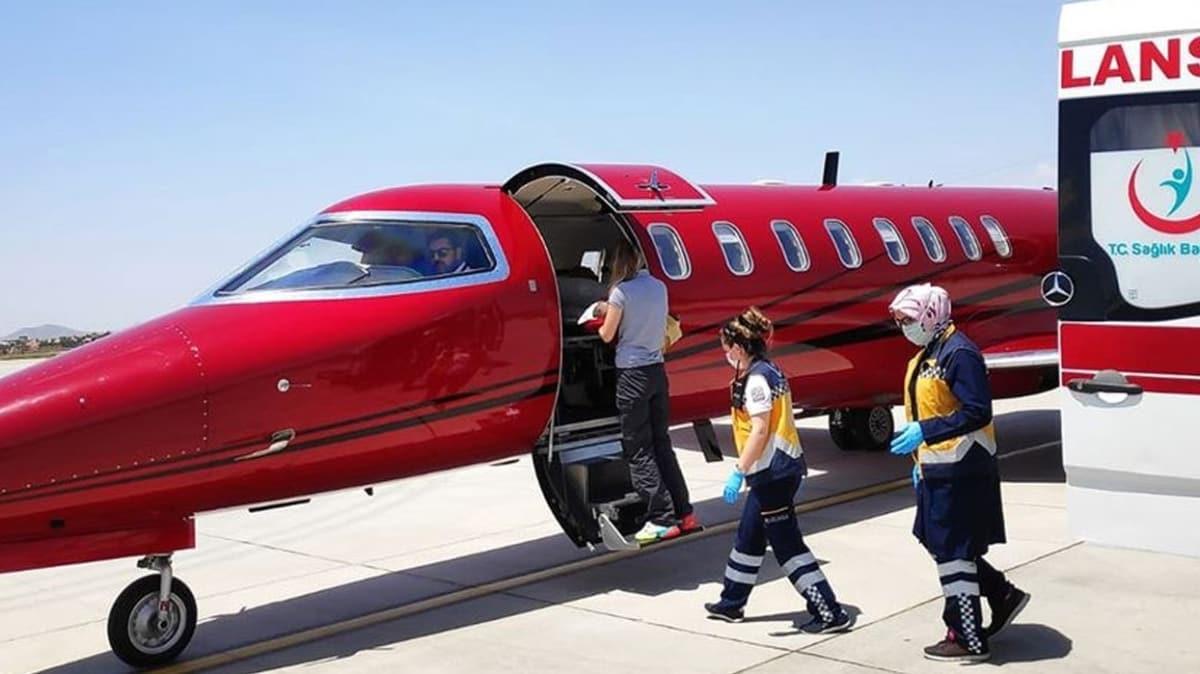Ambulans uçak kalp hastası Nazdar bebek için havalandı