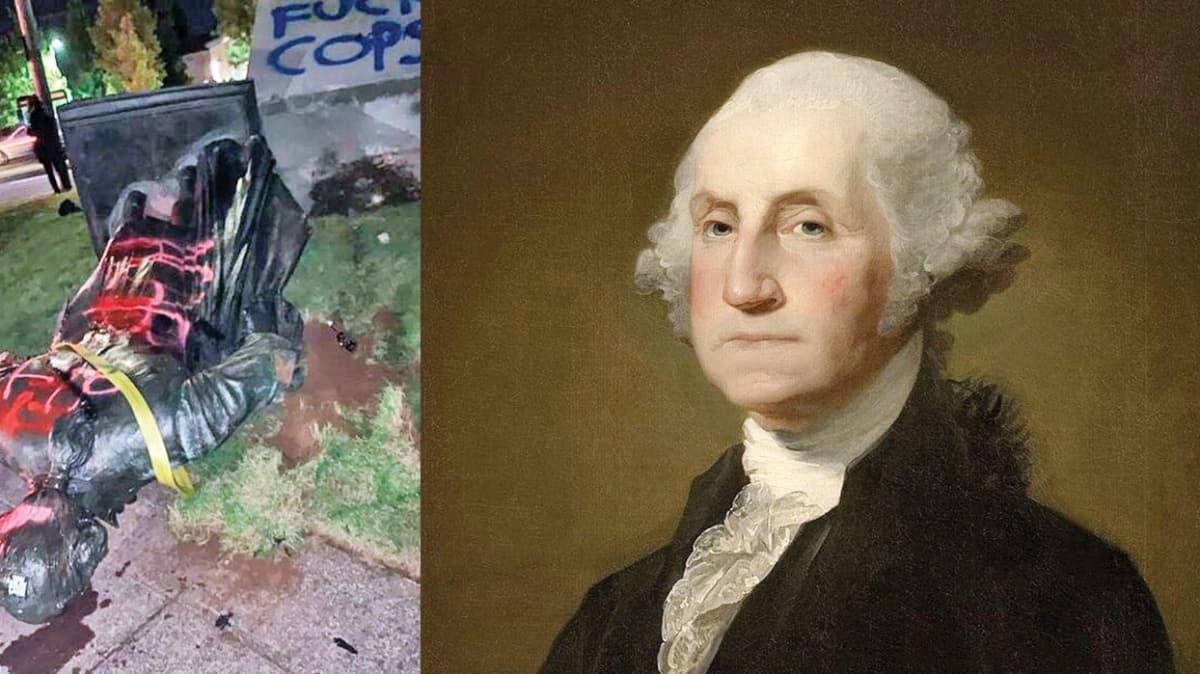 Kurucu Başkan George Washington'ın heykeli de yıkıldı!