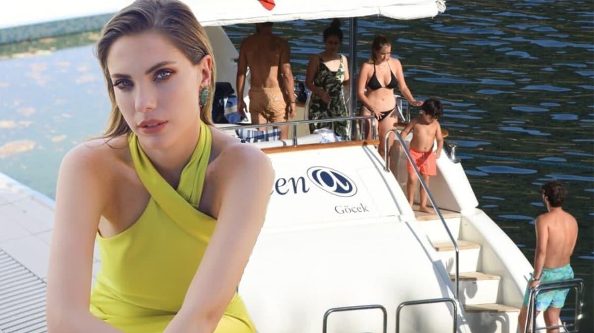 Eda Ece yeni yaşını sevgilisi ve arkadaşlarıyla teknede kutladı