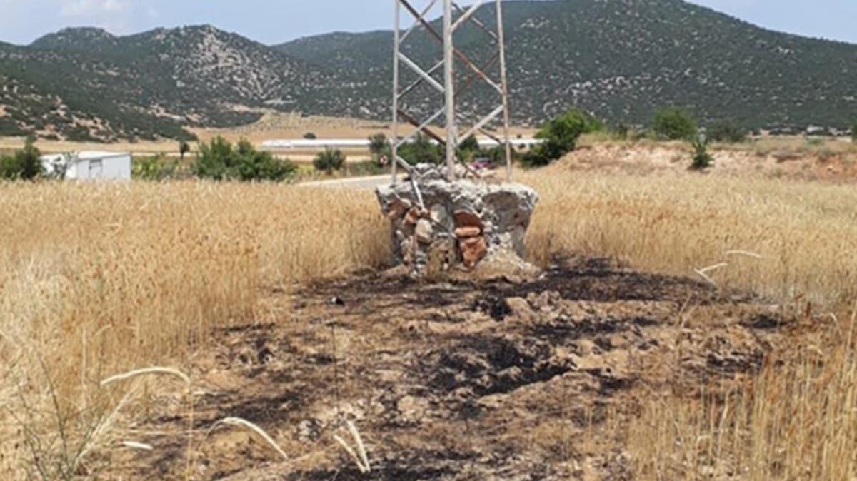 Yer: Antalya... Elektrik direğinden düşen kargalar tarlayı tutuşturdu