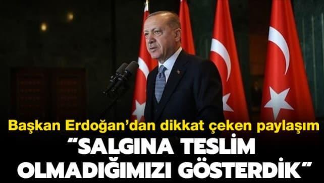 Başkan Erdoğan'dan dikkat çeken paylaşım!