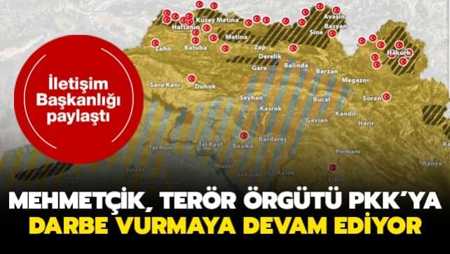 İletişim Başkanlığı paylaştı... Mehmetçik, terör örgütü PKK'ya ağır darbe vurmaya devam ediyor
