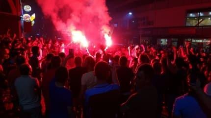 Trabzonlular galibiyeti kutladı