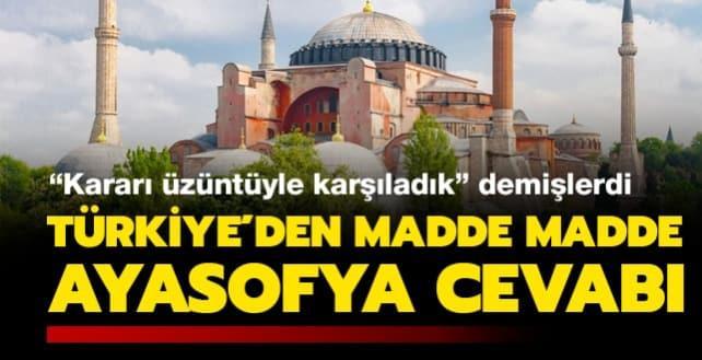 Türkiye'nin kararını üzüntüyle karşıladık diyen UNESCO'ya madde madde Ayasofya cevabı