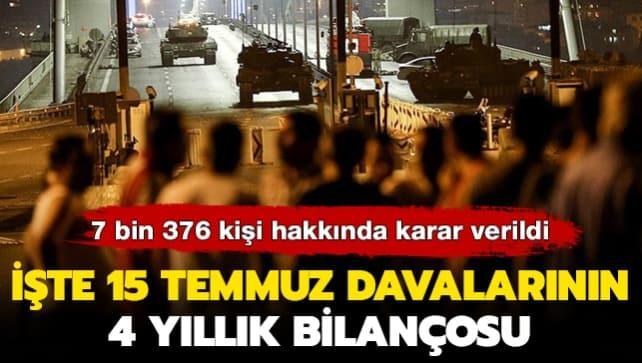 7 bin 376 kişi hakkında karar verildi: İşte 15 Temmuz davalarının 4 yıllık bilançosu