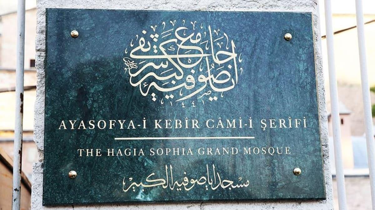 Ayasofya-i Kebir Camii'nin tabelasındaki hüsn-i hat istifinin tapudaki şekliyle yazılmasını Başkan Erdoğan istedi