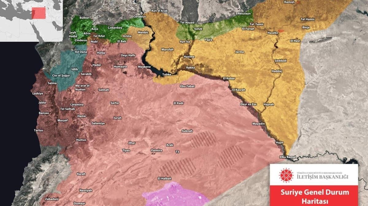İletişim Başkanlığı paylaştı... Suriye'deki genel durum haritası