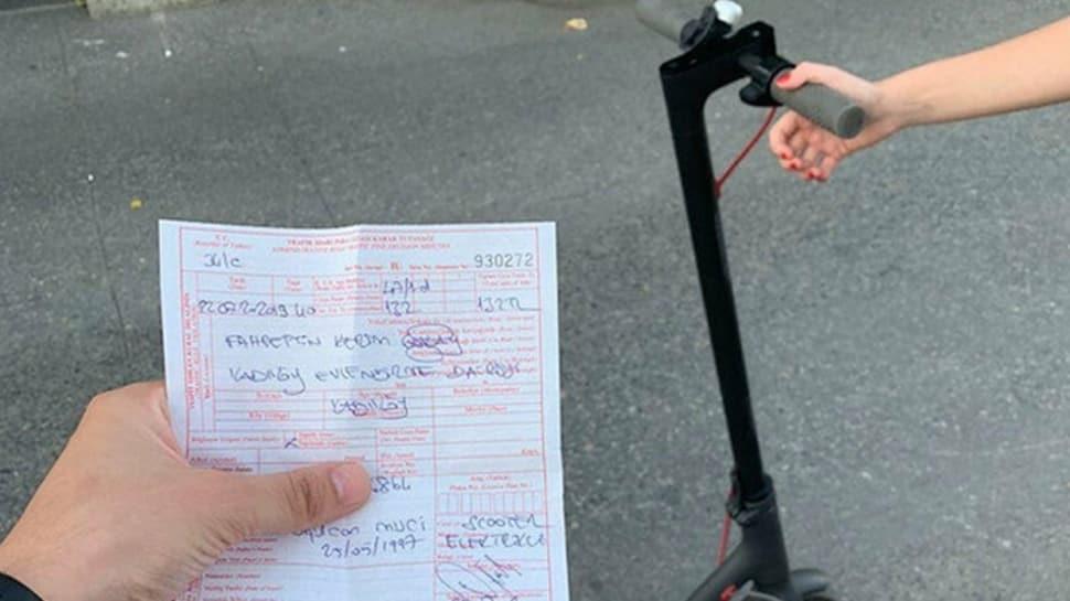 Polis yola inen elektrikli scooter Martı'ya ceza kesmeye başladı