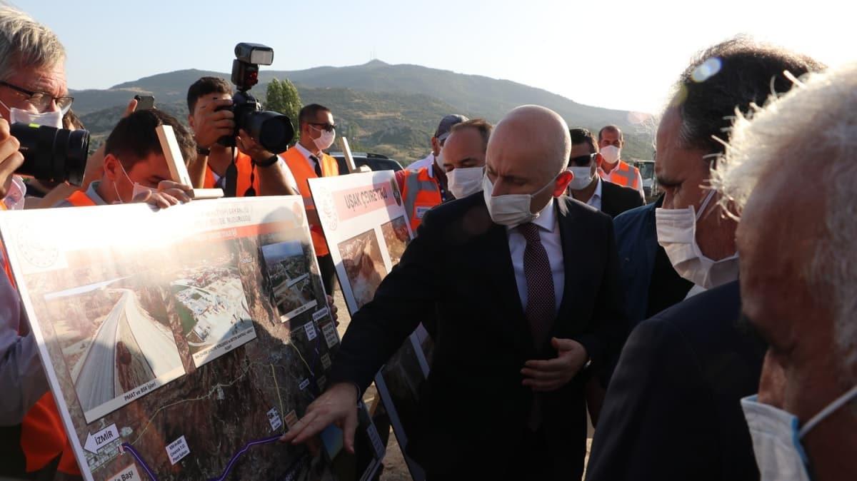 Ulaştırma ve Altyapı Bakanı Karaismailoğlu Uşak Çevre Yolu'nu inceledi