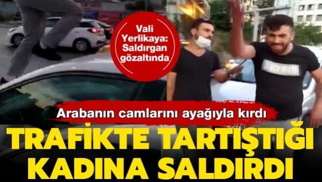 Alibeyköy'de trafik magandası saldırısı! Kadının arabasının ön camını kırdı